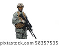 Young soldier wearing Americans army uniform and glasses. 58357535