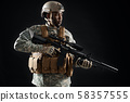 Confident young soldier wearing Americans army uniform. 58357555
