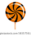 Halloween lollipop swirl sweets colorful with halloween colors elements. Vector isolated 58357561