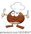 chestnut cartoon chef isolated on white  58358047
