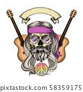 Hippie skull with hair 58359175
