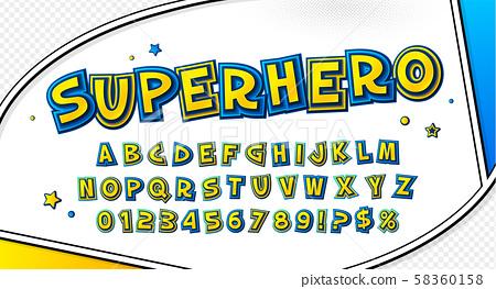 Comic font. Cartoonish alphabet on comic book page 58360158