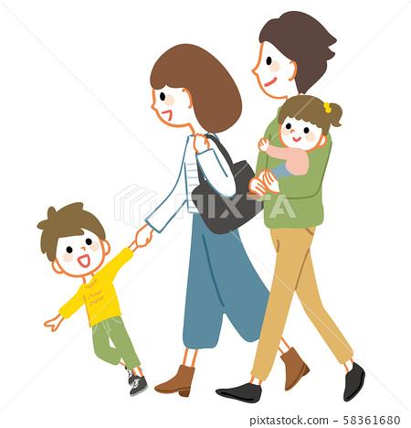 步行親子友誼四口之家 58361680
