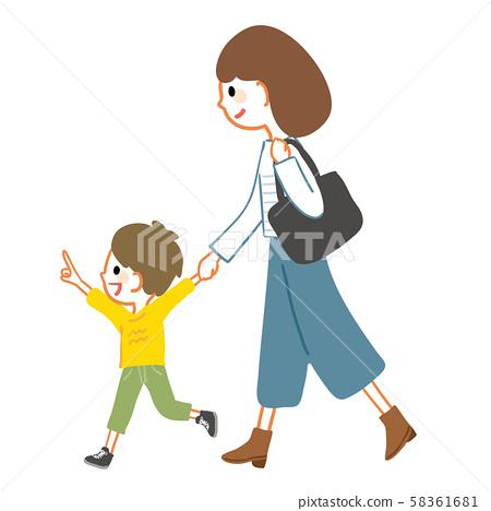 母親,父母和孩子,與孩子攜手同行 58361681