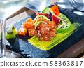 Tartare of raw tuna with avocado and spicy mango sauce 58363817