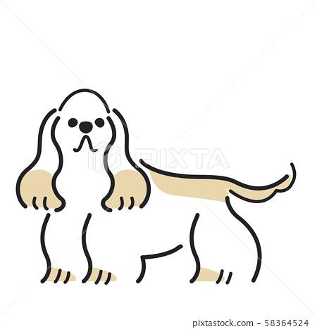 狗摆姿势的面部表情1美国可卡犬 58364524