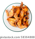 Top view of deep fried chicken wings 58364888