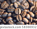close up of a coffee bean on texture background 58366932