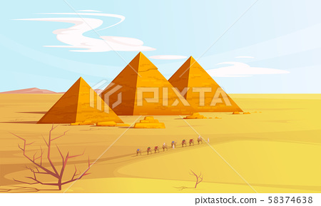 Desert landscape with egyptian pyramids and camels 58374638