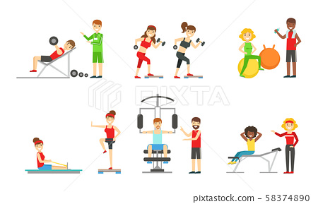 People Doing Sports in the Gym with the Equipment Set, Men and Women Wearing Sports Clothes 58374890