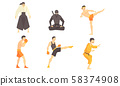 Asian Martial Arts Fighters Set, Male Professional Athletes Practicing Different Technique Kicks 58374908