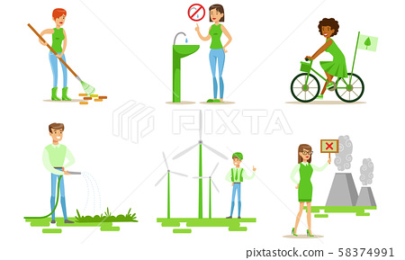 People Taking Part in Environmental Protection Set, Men and Women Saving Water, Using Eco Friendly 58374991