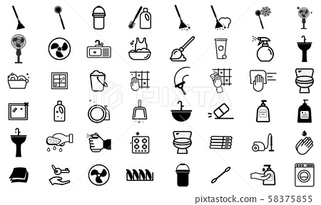 Cleaning service linear icons set. Cleaning products. Napkins, sponge, broom, mop. Window, tile, floor, bathroom, kitchen cleaner. Housekeeping. Isolated vector outline illustrations - vector - Vector 58375855