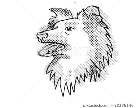 Shetland Sheepdog Dog Breed Cartoon Retro Drawing 58376146