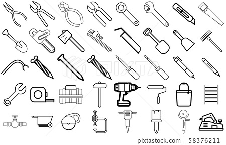 Equipment maintenance Icon set, contruction and repair icon pack, new design and modern style, ready to web and print 58376211