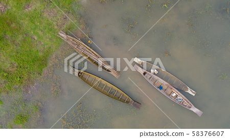 Aerial top view of Fishing boat in Thailand, View 58376607