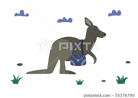 Cute kangaroo with bag. 58376790