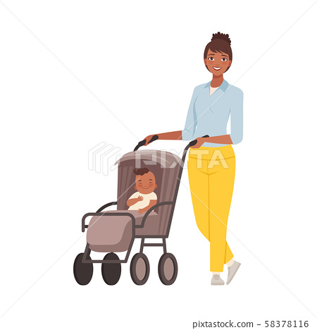 Mom with baby in pram character Illustration Vector 58378116