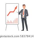 Bisnessman Presents Statistics Using Pointing Stick character Illustration Vector 58378414