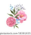 Watercolor floral bouquet composition 58381635