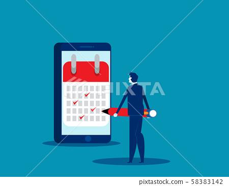 Businessman notes the data in calendar. Concept 58383142