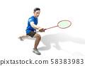 Asian man playing badminton 58383983