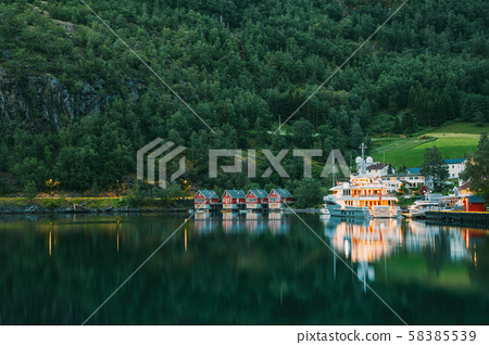 Flam, Norway. Famous Red Wooden Docks In Summer Evening. Small Tourist Town Of Flam On Western Side 58385539