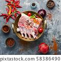 Raw rack of pork 58386490