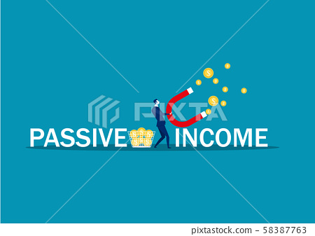 business man try to attract money with magnet passive income word vector illustrator. 58387763