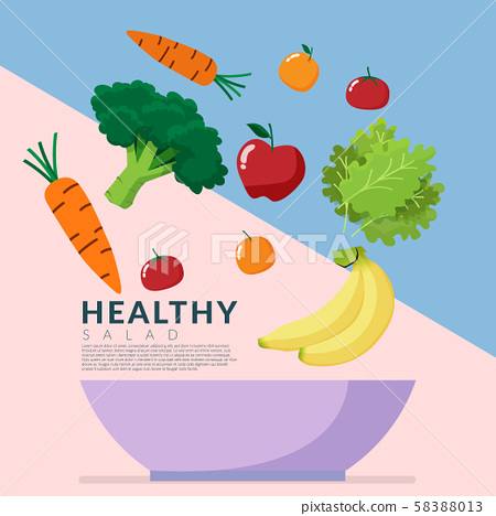 Healthy lifestyle concept. fresh vegetable over blow isolated on colorful background with copy space. Vector illustration 58388013