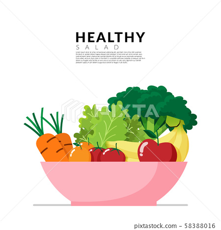 Healthy lifestyle concept. fresh vegetable in colorful blow isolated on white background with copy space. Vector illustration 58388016