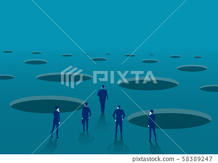 businessman walking to goal with pit hole.signs warn of danger concept vector. 58389247