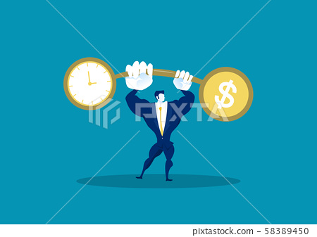 Businessman holding weights balance scales currency comparison dollar finance with time business concept vector 58389450