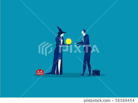 a witch give bulb light to businessman to sucess idea on halloween day concept,vector illustrator. 58389454