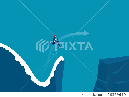 Businessman jumping from a springboard on skis into new moutain. Achieving success. Vector illustration 58389630