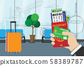 business man holding passport, boarding pass , pocket money and credit card, prepare for travel with luggage and airport terminal at background. vector illustration flat design 58389787
