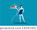 girl slim holding junk food on dish concept choose not eat junk food for healthy 58391942