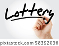 Hand writing Lottery with marker 58392036