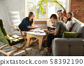 Group of young caucasian office workers have creative meeting to discuss new ideas 58392190
