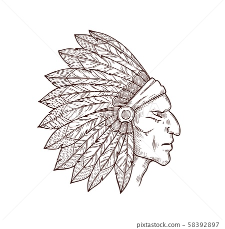 Native american indian chief with feathers on head 58392897
