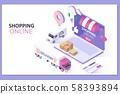 Mobile Application, Shopping Online on Website.Modern flat design isometric concept 58393894