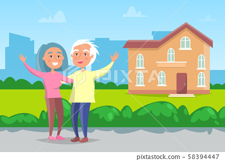 Senior Couple Standing in front of House Vector 58394447