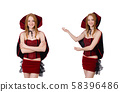 Pretty lady in velvet bordo dress with cap isolated on white 58396486