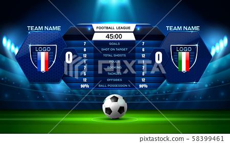 soccer football stadium spotlight and scoreboard 58399461