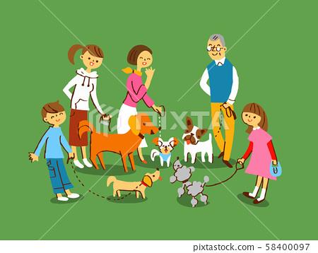 산책 여러 개와 주인 58400097