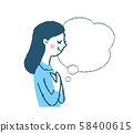 側面輪廓女人講話泡泡 58400615