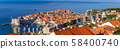 Panoramic aerial view of Dubrovnik on a sunny morning. 58400740