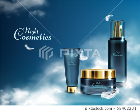 Night cosmetics line realistic banner 58402231