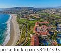 Aerial view of Monarch beach coastline 58402595