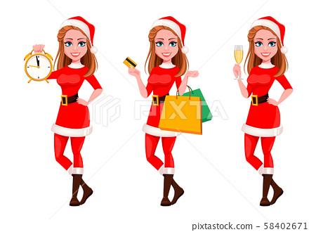Beautiful woman in Santa Claus costume 58402671
